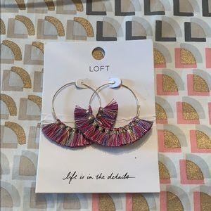 NWT fun loft hoop earrings with colored tassels!